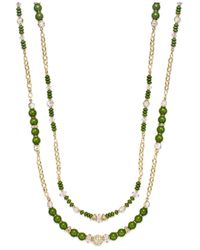 INC International Concepts | Gold-tone Green And Crystal Two-row Long Necklace | Lyst