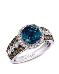 Le Vian | Blue Topaz (2 Ct. T.w.) And White And Chocolate Diamonds (3/4 Ct. T.w.) Statement Ring In 14k White Gold | Lyst