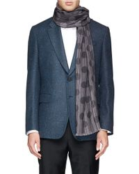 Paul Smith - Brown Stripe And Polka Dot Virgin Wool-blend Scarf for Men - Lyst