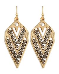 Panacea - Metallic Beaded V Drop Earrings - Lyst