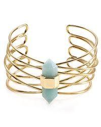 Aqua - Metallic Hedi Stone Cuff - Lyst