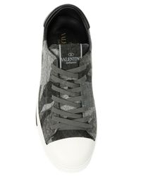 Valentino - Gray Camouflage Felt Low-Top Sneakers - Lyst