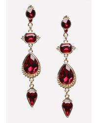 Bebe - Red Linear Crystal Earrings - Lyst