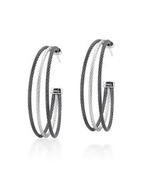 Alor - Gray Stainless Steel Cable Three-row Hoop Earrings - Lyst