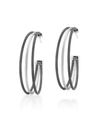 Alor | Gray Stainless Steel Cable Three-row Hoop Earrings | Lyst