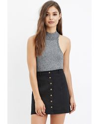 Forever 21 | Black Button-down Denim Skirt | Lyst
