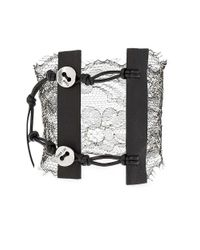 Chan Luu | Metallic Sterling Silver Lace And Leather Bracelet | Lyst
