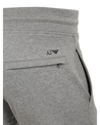 Armani Jeans - Gray Fleece Cotton Trousers for Men - Lyst