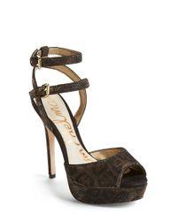 Sam Edelman - Metallic Nadine printed Platform Sandals  - Lyst