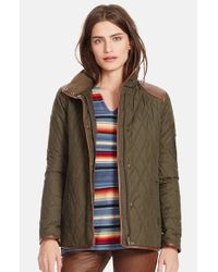 Lauren by Ralph Lauren | Green Faux Leather Trim Quilted Jacket | Lyst
