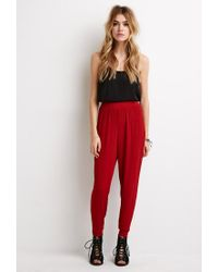 Forever 21 | Brown Crinkled Crepe Joggers | Lyst