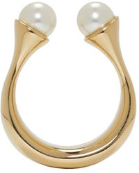 Chloé - Metallic Gold Twin Pearl Darcey Ring - Lyst