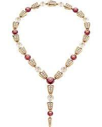 BVLGARI - Serpenti 18ct Pink-gold Rubellite, Moon Quartz And Diamond Necklace - Lyst