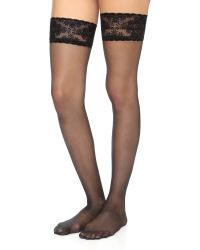 Wolford | Glam Stay Up Tights - Black | Lyst