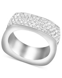 Swarovski - White Rhodium-plated Pave Crystal Square Ring - Lyst