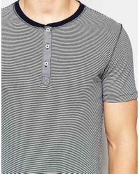 SELECTED - T-shirt With Henley Neck - Blue for Men - Lyst