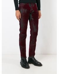 Alexander McQueen - Gray Stained Effect Jeans for Men - Lyst