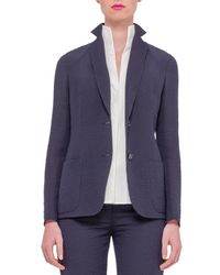 Akris - Blue Textured Silk-Blend Jacket - Lyst