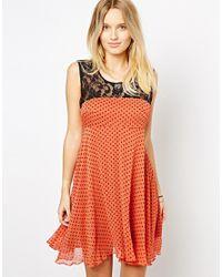 Love | Orange Polka Dot Dress with Lace | Lyst
