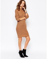Fashion Union | Natural Ribbed Contour Jumper Dress | Lyst