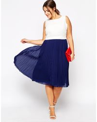 ASOS - Blue Curve Pleated Sheer & Solid Midi Dress - Lyst