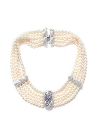 CZ by Kenneth Jay Lane | White Cubic Zirconia Faux Pearl Choker Necklace | Lyst