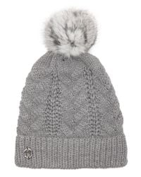 Vince Camuto - Gray Grey Cable Knit Fur Pom Hat - Lyst