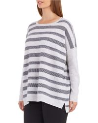 Lord & Taylor | Gray Petite Striped Cashmere Sweater | Lyst