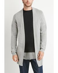 Forever 21 | Gray Longline Open-front Cardigan for Men | Lyst