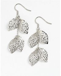 Lord & Taylor | Metallic Sterling Silver Handmade Diamond-cut Leaves Earrings | Lyst