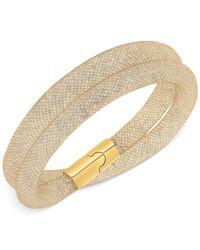 Swarovski | Metallic Stardust Gold-Tone Mesh Double Wrap Bracelet | Lyst