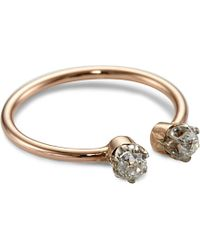 Annina Vogel | Metallic 9ct Rose-gold Midi Toi Et Moi Platinum-set Diamond Ring | Lyst