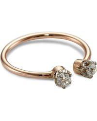 Annina Vogel - Multicolor 9ct Rose-gold Midi Toi Et Moi Platinum-set Diamond Ring - Lyst