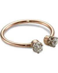Annina Vogel | Pink 9ct Rose-gold Midi Toi Et Moi Platinum-set Diamond Ring | Lyst