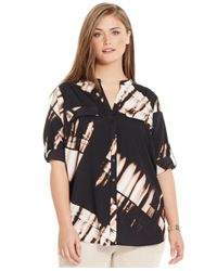 Calvin Klein - Black Plus Size Split-neck Printed Shirt - Lyst