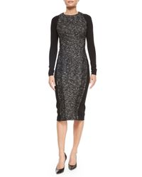 Donna Karan | Black Needlepunch Paneled Sheath Dress | Lyst