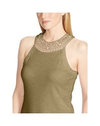 Ralph Lauren - Green Crocheted Cotton Tank - Lyst