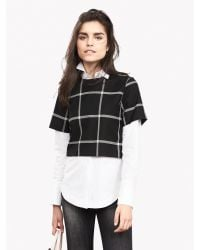 Banana Republic | Black Check Cropped Top | Lyst
