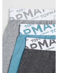 TOPMAN - Multicolor Aqua/Grey/Charcoal 3 Pack Underwear for Men - Lyst