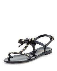 kate spade new york | Black Savannah Jeweled T-strap Flat Jelly Sandal | Lyst