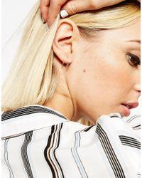ASOS | Metallic Sterling Silver 12mm Bar Hoop Earrings | Lyst
