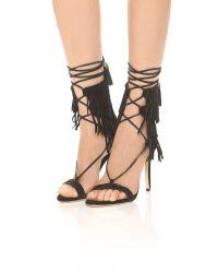 Schutz | Black Kija Suede Fringe Sandals | Lyst