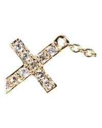 Sydney Evan | Metallic Mini Cross 14kt Yellow Gold Necklace With White Diamonds | Lyst