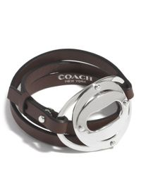 COACH - Metallic Layered Oval Triple Wrap Bracelet - Lyst