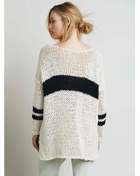 Free People | White Womens Striped At The Seams Pullover | Lyst