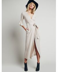 Free People | Natural Bolinas Robe Dress | Lyst