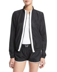 Heroine Sport - Black Mesh Training Jacket W/contrast Stripe - Lyst