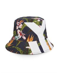 Y-3 - Gray Floral-Print Bucket Hat for Men - Lyst