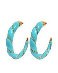 Aurelie Bidermann - Blue Diana Turquoise Bakelit Hoop Earrings - Lyst