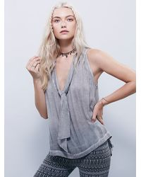 Free People | Gray S/l Tie Neck Washed Tuck | Lyst